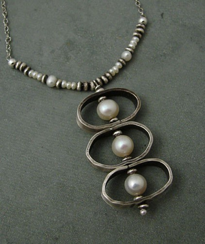 Pearl Necklace & Oxidized Sterling Silver Ovals