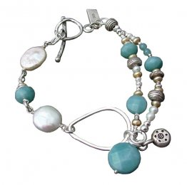Amazonite & Pearl Sterling Bracelet