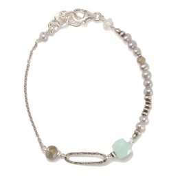 Labradorite, Chalcedony and Pearl Sterling Bracelet