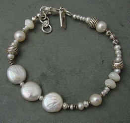 Pearl Sterling Sivler & Mother of Pearl Bracelet