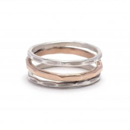Hammered oxidized Ring Sterling Silver and 14kt Goldfill