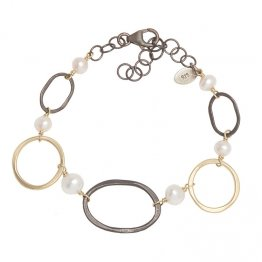 OX Silver Ovals & 14k Goldfill Circles w/ Pearl Bracelet