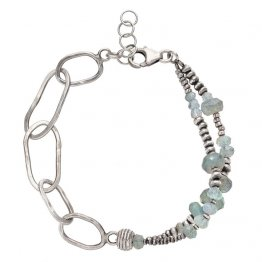 Labradorite Bracelet with Linked Sterling Silver Chain