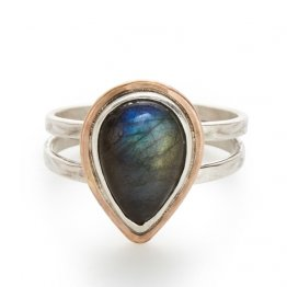 Double Band Ring Bezel Labradorite Teardrop