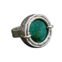 Turquoise & Sterling Silver Hammered Ring
