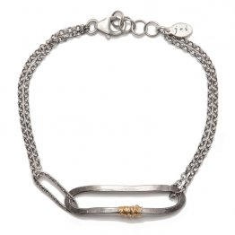 OX Silver Oval on Chain Bracelet w/ 14kt GF Wrap