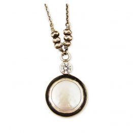 12mm Coin Pearl with 4mm CZ Accent on SS Necklace