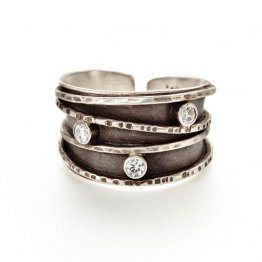 Oxidized Silver Ring w/ Three 3mm White CZ