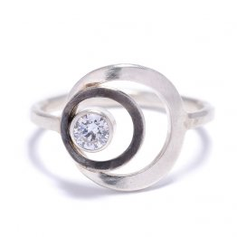 Sterling Ring w/ Circles and 4mm White CZ