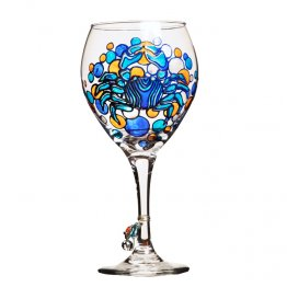 Blue Crab Wine Glass Hand Painted