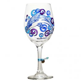 Blue Dolphin Wine Glass