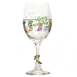 Christmas Wine Glass w/ Hand Painted Holiday Stockings