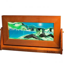 Cherry Wood Moving Sand Pictures Turquoise Med