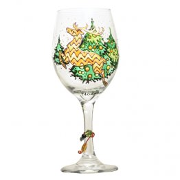 Reindeer Wine Glass Hand Painted