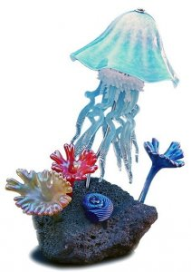 Jellyfish Lamp Reef Sculpture Hand Blown Art Glass Lighting in 10 Colors
