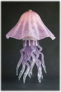 blown glass jellyfish table lamp
