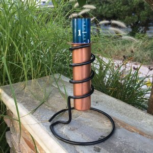 "9"" Copper Rain Gauge Tabletop Coolest Rain Gauge"