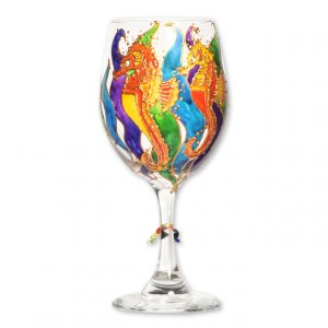 Seahorse Hand Painted Wine Glass